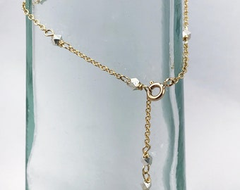 Geometric Gold Silver Nugget Chain Bracelet - Fine Silver Nuggets / 14k Gold Filled Chain - Adjustable - Minimalist - Thin Layering Bracelet