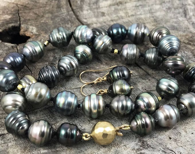 Tahitian Pearls Necklace Earrings Set - Genuine Baroque Shape Multicolored Tahitian Saltwater Pearls - Solid 14k Gold Clasp and Accents