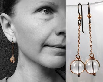 Copper Quartz Orb Earrings - Pure Solid Copper - Round Quartz Crystals - Hypoallergenic Hooks - Pools Of Light