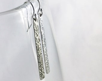 "Sterling Silver Stick Earrings - Rustic - Hammer ""Textile"" Textured Vertical Bar Earrings"
