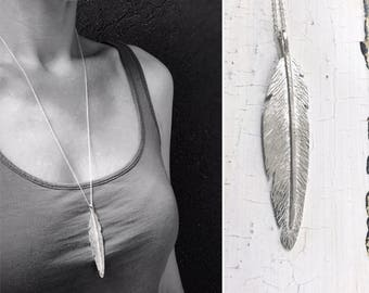 Sterling Silver Feather Necklace - Long Straight Feather - Hand Forged Unique Feather - Solid Sterling Silver