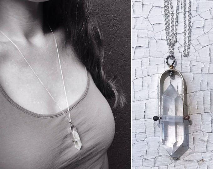 Quartz Crystal Spinner Necklace - Solid Sterling Silver - Double Terminated Quartz Point - Fidget Necklace