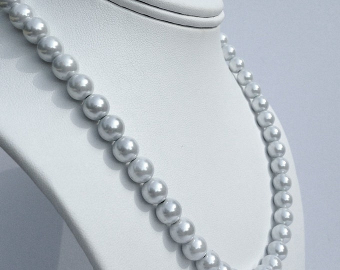 Magnetic hematite necklace - pearly white 8mm beads - custom sized