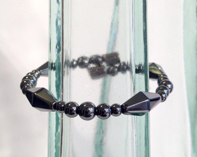 Geometric magnetic hematite bracelet - diamond shaped beads - custom sized