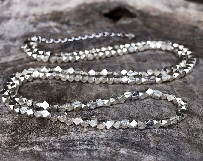 Fine Silver Nugget Necklace / Choker - Fine Silver Geometric Nuggets - Sterling Silver Chain / Clasp - Adjustable Length