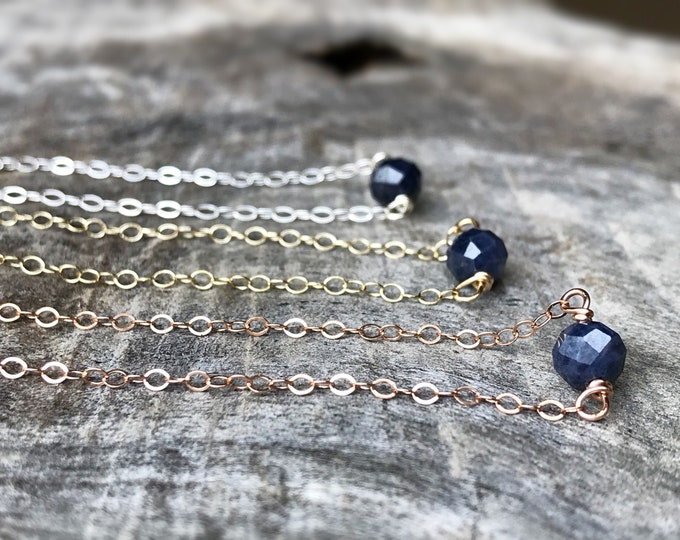 Tiny September Birthstone Necklace - Genuine Faceted Blue Sapphire -Sterling Silver / 14k Yellow Gold Fill / 14k Rose Gold Fill - Minimalist