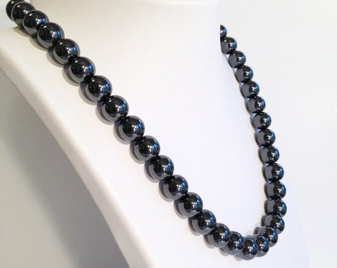 Classic magnetic hematite necklace - 10mm beads - custom sized