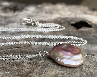 Blush Pink Pearl Pendant Necklace - Solid Sterling Silver - Large Single Baroque Freshwater Coin Pearl