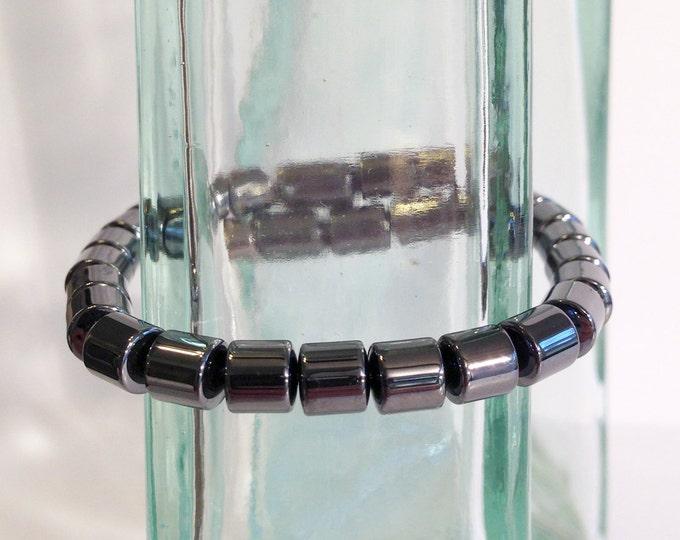 Magnetic hematite bracelet - 6mm drum beads - custom sized