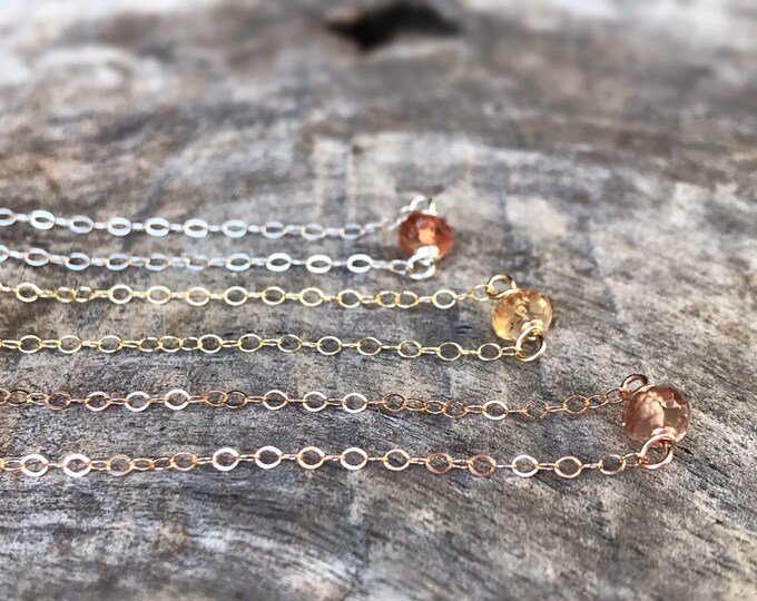 Tiny November Birthstone Necklace - Genuine Faceted Imperial Topaz -Sterling Silver / 14k Yellow Gold Fill / 14k Rose Gold Fill - Minimalist