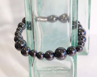 Magnetic hematite necklace - opera style - custom sized