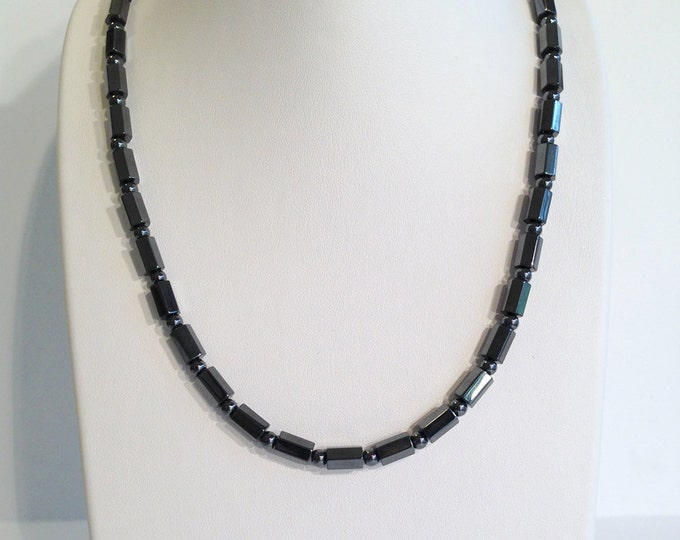 Magnetic hematite necklace - hexagon cylinder beads - custom sized