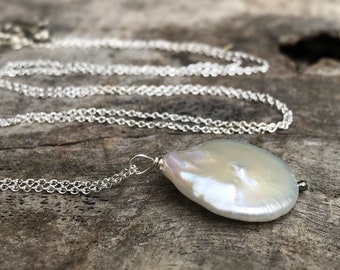 Ivory Cream Pearl Pendant Necklace - Solid Sterling Silver - Large Single Baroque Freshwater Coin Pearl