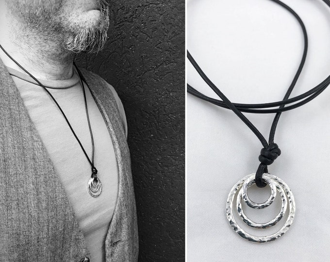 Men's Sterling Silver Triple Circle Necklace - Rustic - Three Hammer Formed Textured Concentric Circles - Adjustable Leather Cord