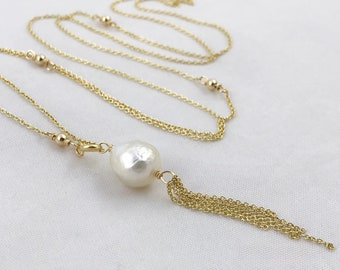 Pearl Tassel Lariat Necklace - 14k Yellow Gold Filled Y Necklace- Long Adjustable Length - Genuine White Freshwater Fireball Pearl