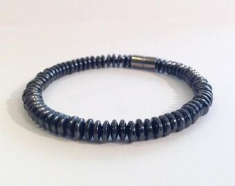 Magnetic hematite bracelet - 6mm flat disk beads - custom sized