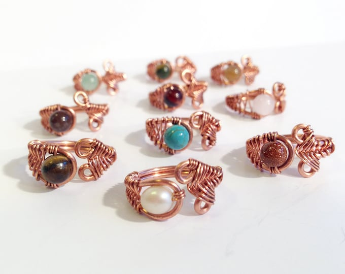 Copper Adjustable Rings - Solid Copper - Gemstone - Pearl - Choose Your Stone - Casual Ring