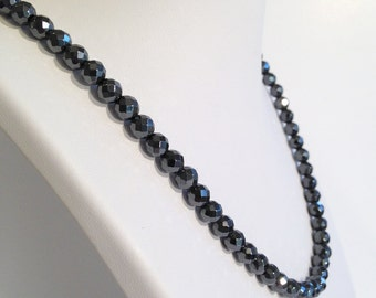Faceted magnetic hematite necklace - 6mm faceted beads - custom sized