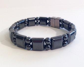 Magnetic hematite bracelet - double stranded watchband style - custom sized