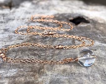 Quartz Crystal Y Style Lariat Necklace - 14k Rose Gold Filled - Round Clear Quartz Crystal Orb - Adjustable Length - Pools Of Light
