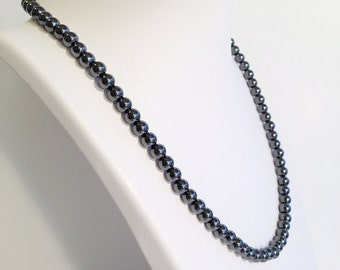 Classic magnetic hematite necklace - 6mm beads - custom sized