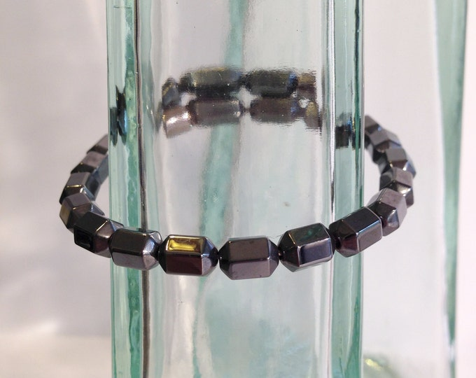 Magnetic hematite bracelet - hexagon beveled beads - custom sized