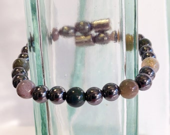 Magnetic hematite bracelet - forest moss color design - custom sized