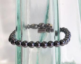 Classic magnetic hematite bracelet - 6mm beads - custom sized