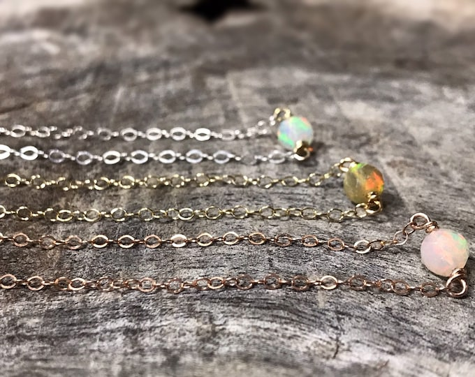 Tiny October Birthstone Necklace - Genuine Faceted Welo Opal -Sterling Silver / 14k Yellow Gold Fill / 14k Rose Gold Fill - Minimalist