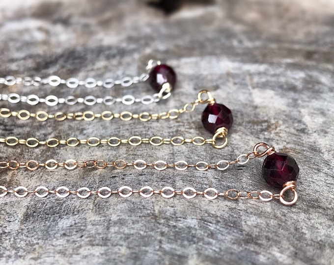 Tiny January Birthstone Necklace - Genuine Faceted Red Garnet - Sterling Silver / 14k Yellow Gold Fill / 14k Rose Gold Fill - Minimalist