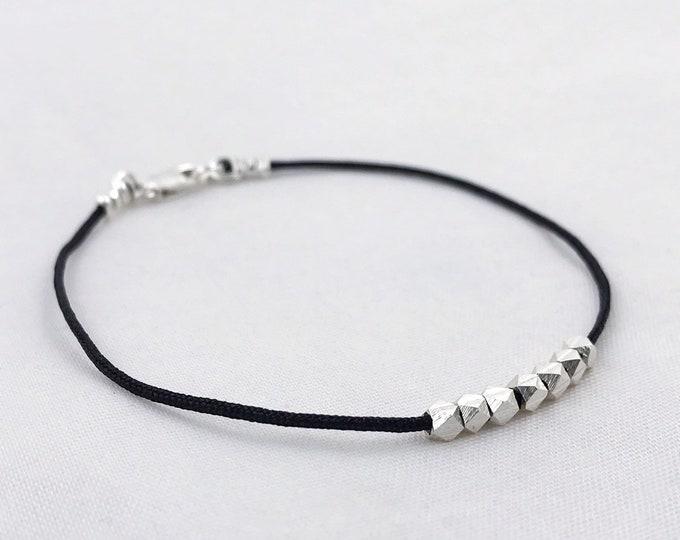 Men's Fine Silver Nugget Bracelet - Hand Carved Fine Silver Nuggets - Black Nylon Cord - Minimalist - Choose Number Of Nuggets - Custom Size