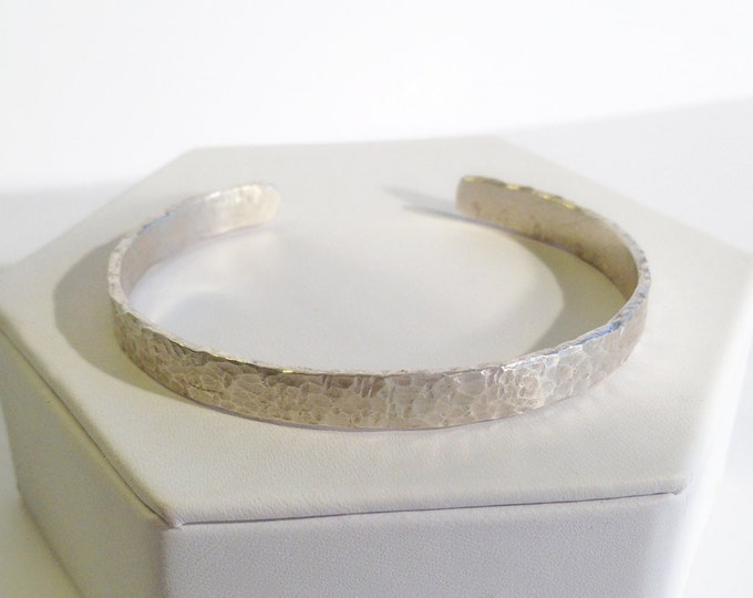 Featured listing image: Sterling Silver Cuff Bracelet - Heavy Gauge - Hammered Textured - Rustic - Hammer Wrought - Custom Sized