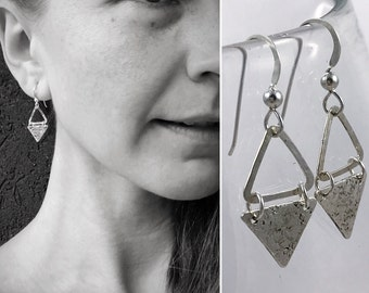"""Sterling Silver Triangle Earrings - Hammered Textured - Rustic - Hammer Formed - Geometric Earrings - """"Triangle Dangle"""""""