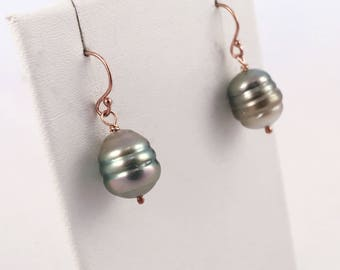 Tahitian Pearl Drop Earrings - 14k Rose Gold Filled - Genuine Baroque Tahitian Pearls - Multicolor Saltwater Pearls