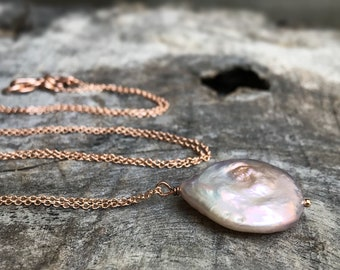Blush Pink Pearl Pendant Necklace - 14k Rose Gold Filled - Large Single Baroque Freshwater Coin Pearl