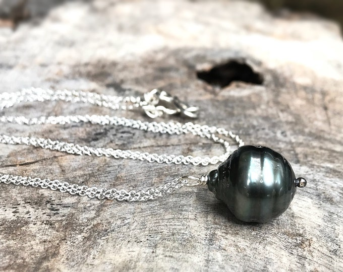 Featured listing image: Tahitian Pearl Pendant Necklace - Solid Sterling Silver - Single Genuine Baroque Tahitian Pearl - Large Grey/Blue/Brown Saltwater Pearl