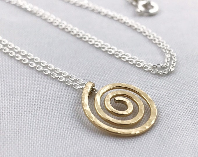 Solid Gold And Silver Spiral Necklace - Small Koru Spiral - Solid 14k Gold / Solid Sterling Silver - Hammer Formed - Subtle Hammered Texture