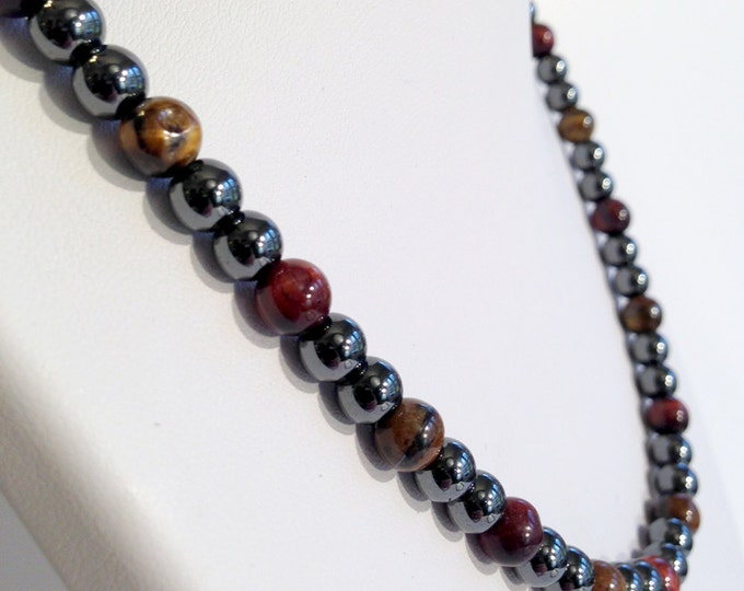 Magnetic hematite necklace - eye of the tiger color design - custom sized