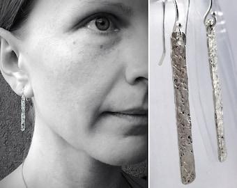 "Sterling Silver Vertical Bar Earrings - Textured Stick Earrings - Rustic - Hammer ""Textile"" Textured Earrings"