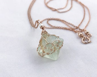 Green Fluorite Crystal Necklace - 14k Rose Gold Filled - Fine Silver Bead Link - Raw Fluorite Octahedron Necklace - Long Layering Necklace