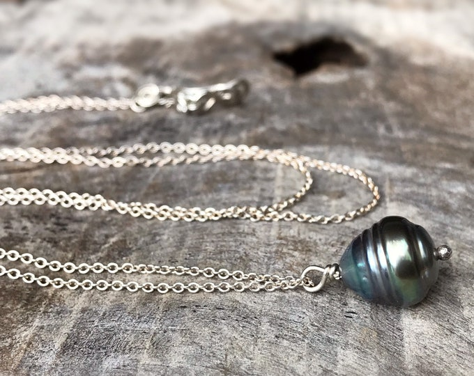 Tahitian Pearl Pendant Necklace - Solid Sterling Silver - Single Genuine Baroque Tahitian Pearl - Grey/Blue/Bronze Saltwater Pearl