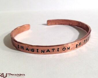 Personalized Copper Cuff Bracelet - Heavy Gauge - Rustic - Hammer Wrought - Custom Sized