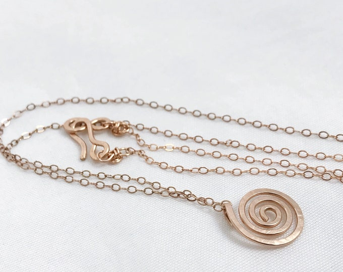 14k Rose Gold Filled Spiral Necklace - Small Koru Spiral -  Hammer Formed - Subtle Hammered Texture