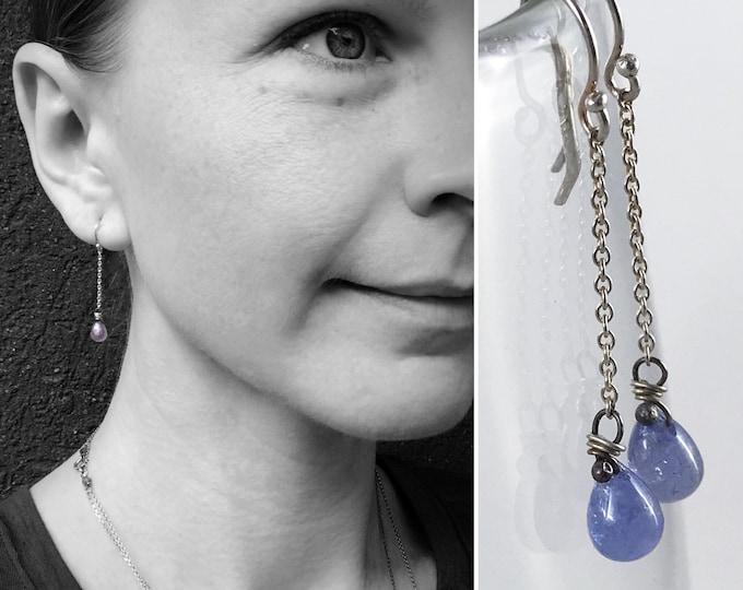 Tanzanite Teardrop Earrings - Solid Sterling Silver - Genuine Tanzanite - Periwinkle Blue Dangle Earrings