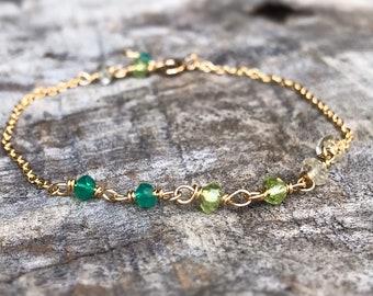Faceted Stone Chain Bracelet - Ombre Stone Bracelet - 14k Yellow Gold Filled - Lemon Quartz - Peridot - Green Onyx - Adjustable Chain