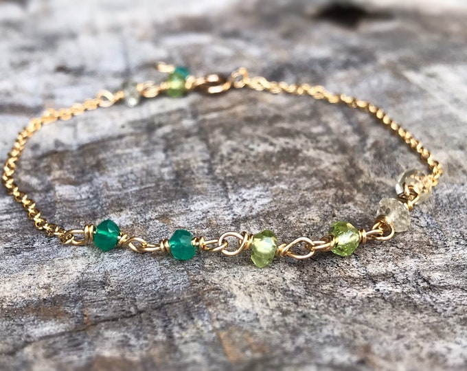 Faceted Stone Chain Bracelet - Ombre Stone Bracelet - 14k Yellow Gold Filled - Lemon Quartz - Peridot - Green Onyx - Adjustable Chain