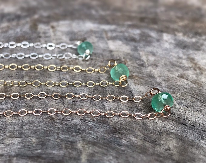 Tiny May Birthstone Necklace - Genuine Faceted Colombian Emerald - Sterling Silver / 14k Yellow Gold Fill / 14k Rose Gold Fill - Minimalist