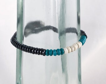 Magnetic Hematite Bracelet - 4mm Flat Disk Beads - Turquoise Accent Beads - Neodymium Magnet Clasp - Custom Sized