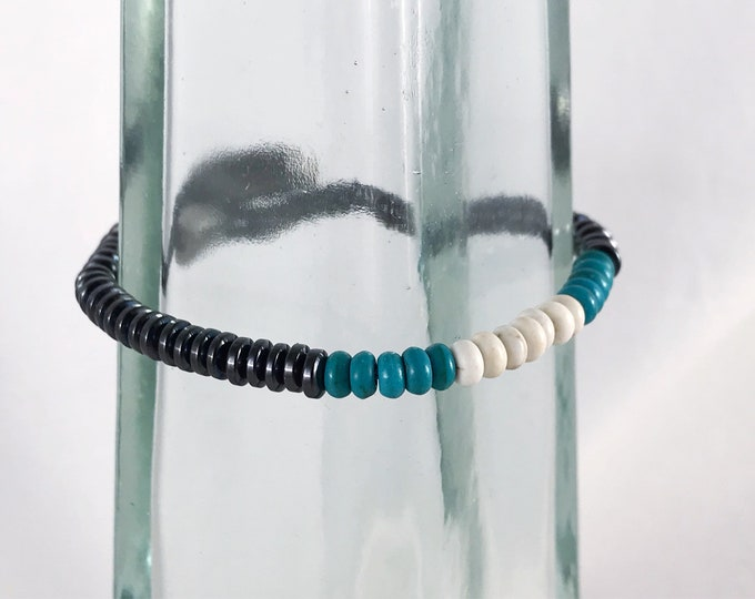Magnetic Hematite Bracelet - 4mm Flat Disk Beads - Turquoise Accent Beads - Neodymium Magnet Clasp - Custom Sized