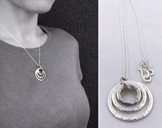 Hammered Sterling Silver Triple Circle Necklace - Three Rustic Hammer Formed Textured Concentric Circles - Nesting Circles